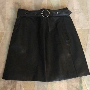 Divided Leather Skirt